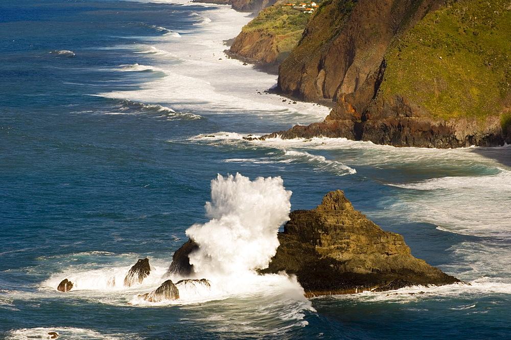 Waves pounding the cliffs on the north coast near Ponta Delgada, Madeira, Portugal, Atlantic, Europe